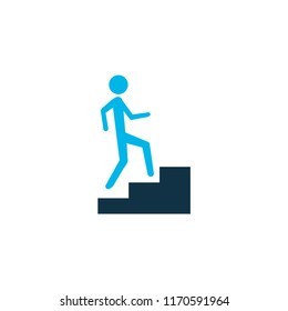 Step up icon colored symbol. Premium quality isolated staircase element in trendy style.