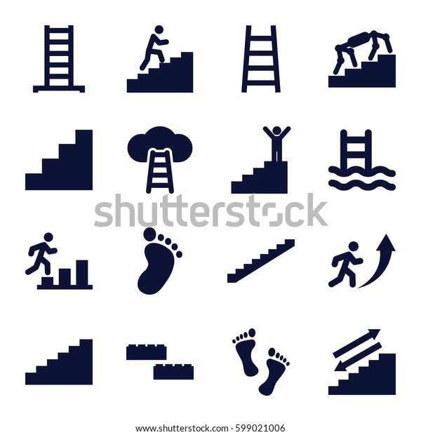step icons set. Set of 16 step filled icons such as ladder, stairs, foot print, stair, man climbing stairs, foot, man going up, man on stairs, ladder to the sky