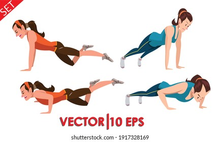 Step instruction for push up of woman. Woman activity. Vector illustration eps10.