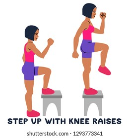 Step up with knee raises. Sport exersice. Silhouettes of woman doing exercise. Workout, training Vector illustration