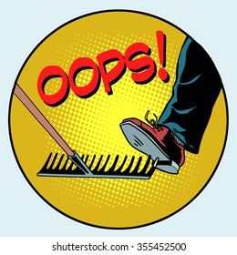 To step on a rake. Failure and problems pop art retro style. The business concept is a bad way, bad decision