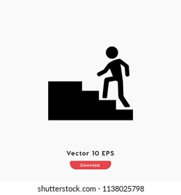Step one step,climbing icon. Sucsess,stairway,stair,up vector. Walk,down.step symbol flat sign vector for web and mobile apps