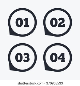 Step one, two, three and four icons. Sequence of options symbols. Loading process signs. Flat icon pointers.