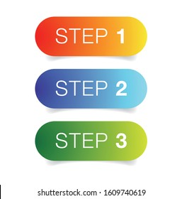 Step One Two Three progress buttons