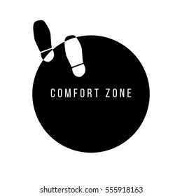Step out of your comfort zone concept. walking out of circle. vector illustration. eps 10.