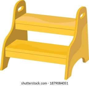 Step stool,illustration, vector on white background.