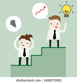 Step to success business cartoon concept, vector and illustration