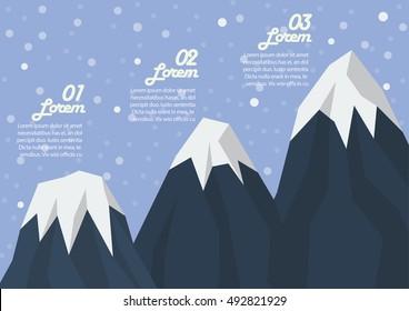 Step of three mountain peak infographic. Flat style design