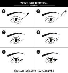Step-by-step instruction on how to use eyeliner. Vector eyes icons