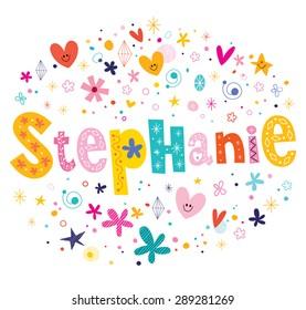 Stephanie girls name decorative lettering type design
