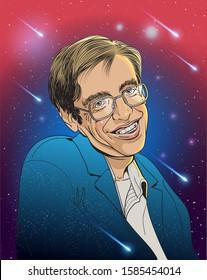 Stephen Hawking portrait in cartoon style. Vector illustration.