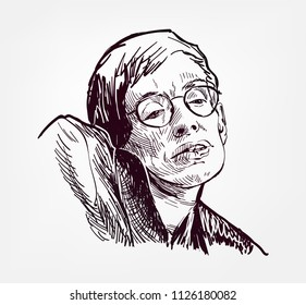 Stephen Hawking vector sketch portrait illustration