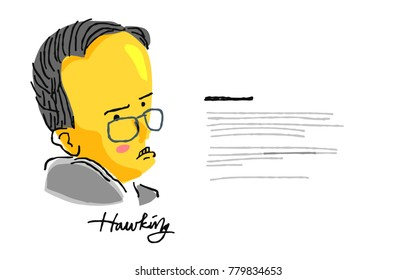 Stephen Hawking in yellow and black sketch. December 22 2017