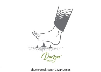 Stepping on metal pins barefoot, foot stepping on spiky pin and tack on the floor. Threat of painful injury and wound, danger of unforeseen problem concept sketch. Hand drawn vector illustration