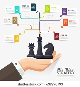 Steps to business strategy concept template. business hand holding chess figure - planning and management. Vector illustration. Can be used for web design, infographics and timeline.