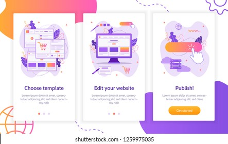 Steps to create a website: choose template, edit and publish. Onboarding screens template. Mobile app design. Website builder concept. Flat vector illustration.