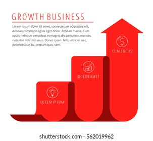 Steps of growth, increase business concept. Red arrow depict improve business. Flat illustration of upward arrow. Vector template element for infographic, web, presentation, publish, social networks.