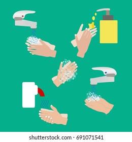 Steps hand wash on bright background vector illustration