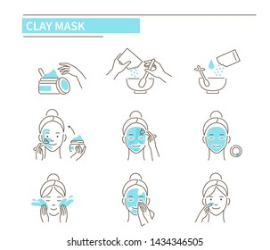Steps how to apply clay facial mask. Line style vector illustration isolated on white background.