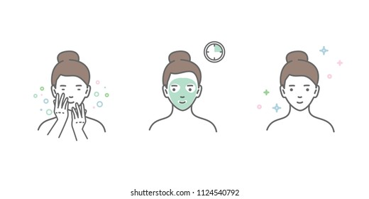 Steps how to apply facial mask. Vector line illustrations set isolated on white background.