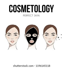 Steps how to apply facial mask to treat acne. Vector isolated illustrations set. Woman with cosmetic face black mask on face. Fashion, beauty. Graphic, sketch drawing. Spa concept Vector illustration.