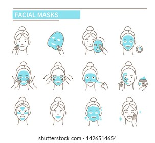 Steps how to apply facial mask. Line style vector illustration isolated on white background.