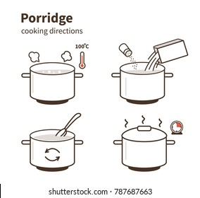 Steps how to cook porridge.  Flat line vector illustration isolated on white background.