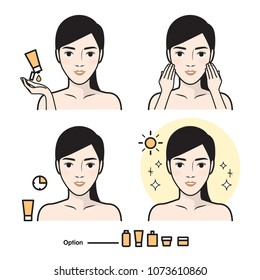 Steps how to facial care. Infographics simple style.