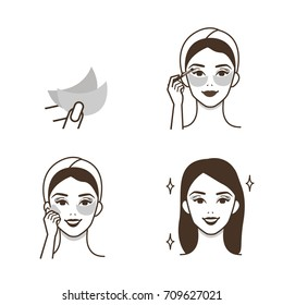 Steps how to use eye patches for make up. Vector isolated illustrations set.