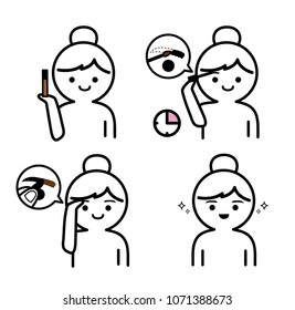 Steps how to use eyebrown gel.cute style.
