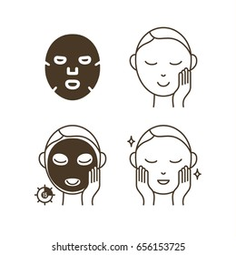 Steps How to Use Facial Sheet Mask. Vector Illustration.