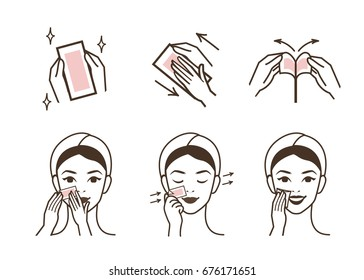 Steps how to use strip wax for facial hair removal. Isolated vector illustration.