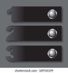 Steps labels over black background vector illustration