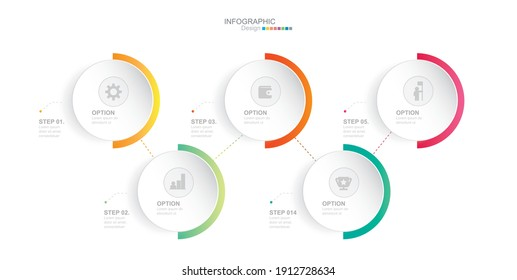 Steps Options Elements Infographic Template for Website, UI Apps, Business Presentation.