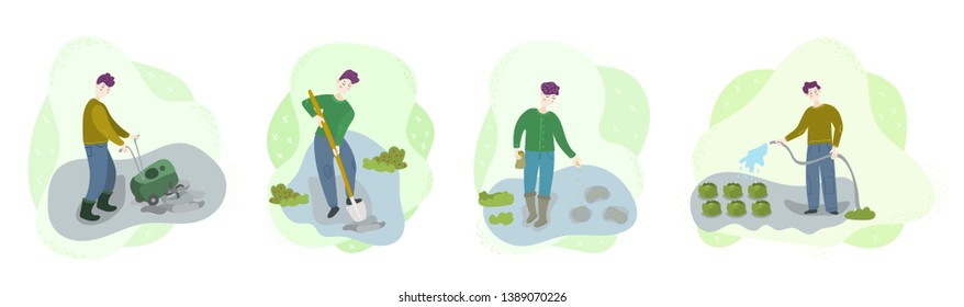Steps of organic growing vegetables. Men cultivate soil, dig hole, sow seeds, watering. Season harvest work scene set. Isolated flat trendy cartoon Illustration for web and print collection