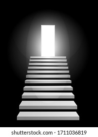 Steps up to the shining entry. Stair soar to future soaring in dark Glowing space. Door and staircase, way of Achievement, stairway to heaven. 3d Front view, Symbol of motivation, development, success