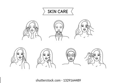 STEPS OF SKIN CARE. Vector illustration. Washing, removing make-up, toning, nutrition, moisturizing, Line style. Isolated on white background. Set for spa salon, eco cosmetics