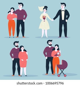 Steps or stages of happy family life. Aging. From girlfriend and boyfriend to marriage, husband, wife and pregnancy. Various situations of relationship. Man and woman through age. Vector illustration