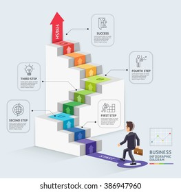 Steps to starting a business template. Businessman walking up an arrow. Vector illustration. Can be used for workflow layout, diagram, number options, web design, infographics and timeline.