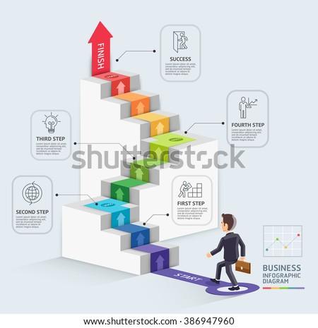 steps starting business template businessman walking のベクター画像