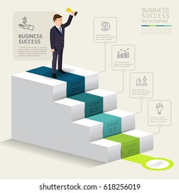 Steps to starting a business template. Success Businessman stand up with award Vector illustration. Can be used for workflow layout, diagram, number options, web design, infographics and timeline.