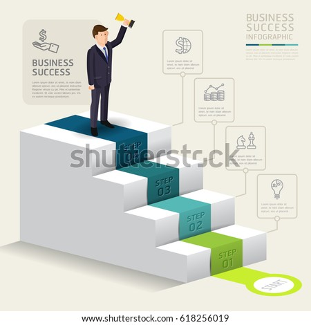 Steps starting business template success businessman stock vector steps to starting a business template success businessman stand up with award vector illustration wajeb Gallery