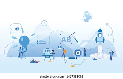 Steps for success startup,  Successful Business Strategy Development. career development concept, Startup Business, motivation, the way to achieve the goal, rocket up, vector illustration .