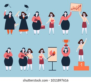 Steps to success of two woman friends. University graduation, search of work, working, graphics and analitycs. Final image are life winners on pedestal base with trophy. Rapid career growth. Feminism