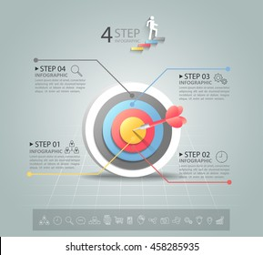 Steps to target infographic 4 options, Business concept infographic template can be used for workflow layout, diagram, number options, timeline or milestones project.