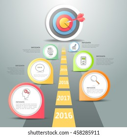 Steps to target infographic 6 options, Business concept infographic template can be used for workflow layout, diagram, number options, timeline or milestones project.