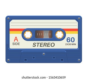 Stereo cassette. Retro audio tape with music record for vintage poster 80s isolated vector trendy pop object