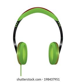Stereo headphones green on white background.
