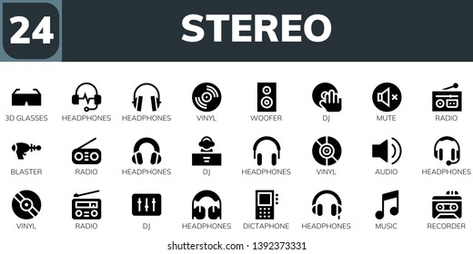 stereo icon set. 24 filled stereo icons.  Collection Of - 3d glasses, Headphones, Vinyl, Woofer, DJ, Mute, Radio, Blaster, Audio, Dictaphone, Music, Recorder