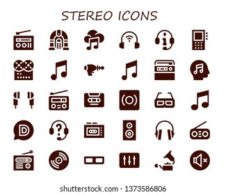 stereo icon set. 30 filled stereo icons.  Collection Of - Radio, Jukebox, Music, Headphones, Dictaphone, Blaster, Earphones, Cassette, Record, 3d glasses, Disqus, Recorder, Woofer